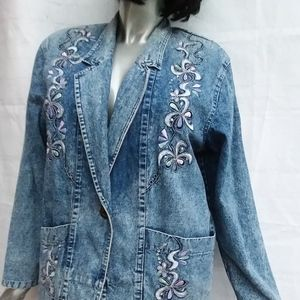Jackets & Blazers - BOGO 50% OFF VINTAGE 80's XL Jean Jacket Floral